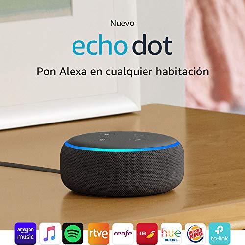 51L70Se4h L - Echo Dot (3.ª generación) - Altavoz inteligente con Alexa, tela de color antracita