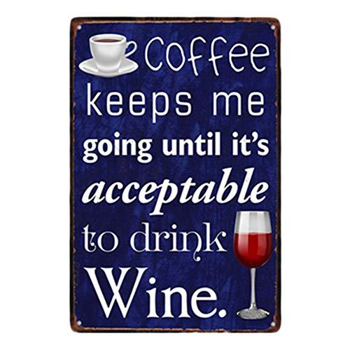 Fablcrew Wein Bar Werbung von Glas und EIN Kaffee Tasse Bild mit Wort Metallschild für Bar Pub Restaurant Bar Sprüche Serie