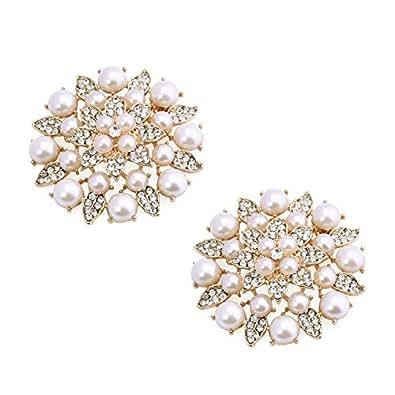 ElegantPark BK Charm Fashion Pearl Rhinestones Decoration Wedding Party Dress Hat Shoes Clips 2 Pcs Gold
