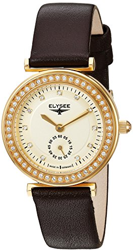 ELYSEE Women's Maia 30mm Brown Leather Band Gold Plated Case Quartz Champagne Dial Analog Watch 44007