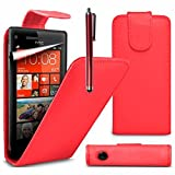 VCOMP Housse Coque Etui rabattable en simili cuir pour HTC Windows Phone 8S + stylet - ROUGE