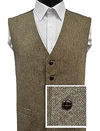 Gilet en laine mélangée à chevrons - Marron / Beige - Homme