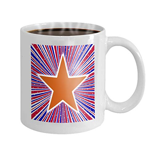 11 oz Coffee Mug red white blue rays arizona star abstract retro grunge backround design element stars flag Novelty Ceramic Gifts Tea Cup
