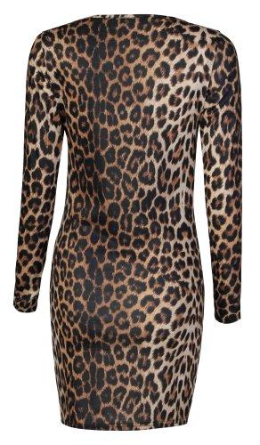 Fast Fashion Damen Mit Langen Ärmeln Leopardenmuster Bodycon Kleid Leopard Print