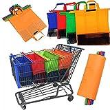 4pcs/lot de chariot de supermarché Sac à provisions d'appui Sacs à provisions pliable Fourre-tout réutilisable respectueux de l'environnement Sacs de supermarché