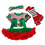 YuanDian Baby Mädchen 3tlg Kleid Weihnachten Bekleidung Set Neugeborenes Outfit Kleinkind Weihnachtskostüm Strampler Tütü Body Kleid + Stirnband + Beinwärmer Babykleidung 5# 6-12 Monate