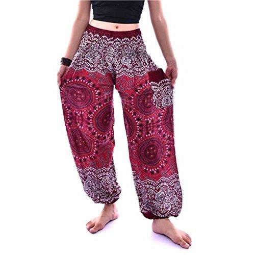 Bellelove,Hommes Femmes Pantalons, Printemps cheville-longueur Britches, Thai Harem Pantalons Festival Boho Hippy Smock taille haute Yoga Pantalons, Pantalon de danse Sport National Vintage (Violet) Du vin