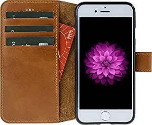 "Solo Pelle iPhone 7 Case Lederhülle Ledertasche ""Wallet"" in Cognac Braun"