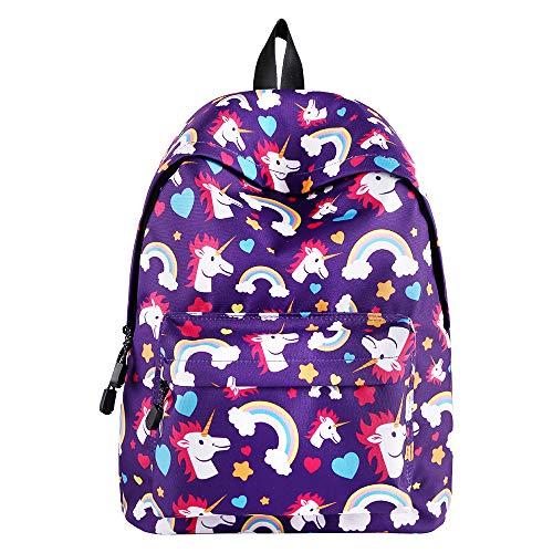 Reiserucksack 3D Unicorn Print Rucksack Kinder College School Bag für Jungen Mädchen Studenten (Lila)