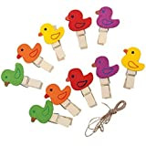 INNOVATIVE 30 PCs Different Colors With Different Design Cute Wooden Clip Mini Craft Wooden Pegs Photo Hanging Spring Clips Pinch,wooden Clips For Wedding Party Decorations (PACK OF 30 PCS)