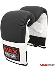 Max Strength Boxing Bag Gloves Rex Leather Training Mitts Black And White Elasticated Secure Wrist Support L/XL