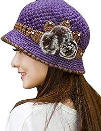 7f1c8c93a12ec Screenes Sombrero De Punto Mujer para Flores Cálido Invierno De Punto Estilo  Simple Orejas Decoradas Sombrero