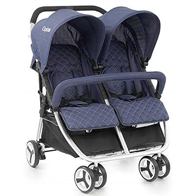 Babystyle Oyster Twin Oxford azul con protector de lluvia desde el nacimiento