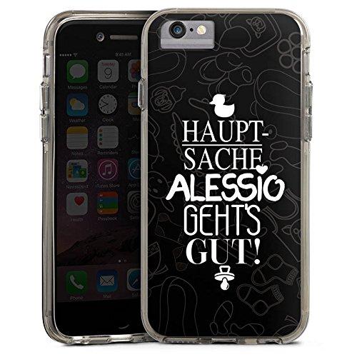 Apple iPhone 7 Plus Bumper Hülle Bumper Case Glitzer Hülle Pietro Lombardi Alessio Spruch Bumper Case transparent grau