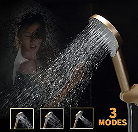 LEF Handheld Shower Head Set of 1.5M Stainless Steel Hose and Wall Bracket Showerhead with 3-Way Shower Modes