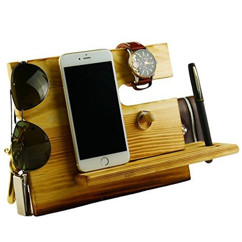 Lemo Hand -Wooden iPhone-Dockingstation mit Schlüsselhalter , Stifthalter , Brieftasche und Uhr-Organizer Männer Geschenk (Dunkle Kiefer)
