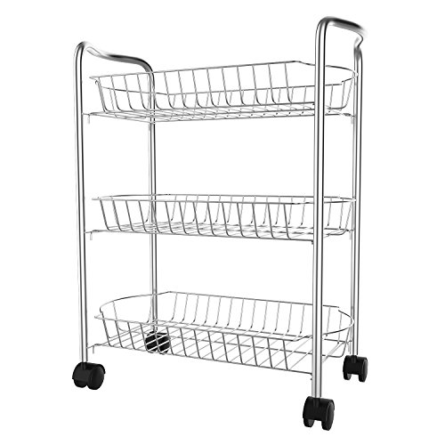 flabor Küchenwagen Edelstahl mit Rollen Badwagen 3 Ablage Rollwagen, Regal Metall für Büro, Küche & Bad, Silber
