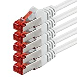 Netzwerkkabel Cat 6 (3m - weiß - 5 Stück) Ethernetkabel Lankabel Cat6 Sftp Patchkabel Set 10/100/1000/Mbit/s Internet Dsl Anschluss Router Computer