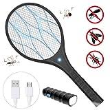 Bearbro Elektrische vliegenmepper, vliegenmepper, USB-oplaadbaar, met ledverlichting en afneembare zaklamp, 3-laags mesh bescherming voor binnen en buiten