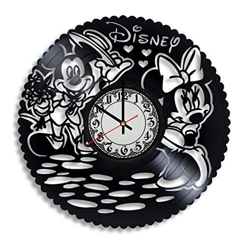BombStudio Mickey Mouse Disney Wanduhr aus Vinyl, Micky Maus Disney, handgefertigt für Küche, Büro, Schlafzimmer Mickey Mouse Disney Wandposter (Tv Halloween-filme Im Disney)