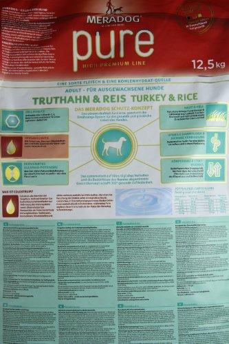 MERADOG PURE Adult Trockenfutter, Hundefutter ohne glutenhaltige Zutaten für sensible Hunde mit Truthahn und Reis, 12,5 Kg