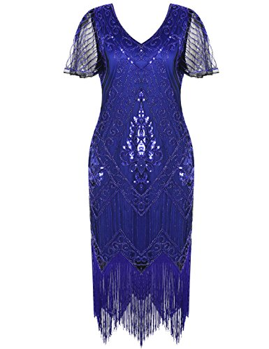 PrettyGuide Damen 1920er Charleston Kleid Pailetten Cocktail Flapper Kleid Mit Ärmel XL Blau Blau