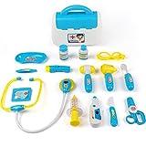 TurnRaise Cuadro Médico Conjunto Enfermera Médico Kit Parque Infantil para Niños - Fingir Juego Herramientas Juguete Set 15 Piezas (Azul)