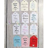 Cartellini per bomboniera personalizzati, vari colori, 30x45 millimetri, a partire da 30 pezzi, bomboniere, multicolor, etichette,matrimonio, battesimo, comunione, cresima, tag cuore