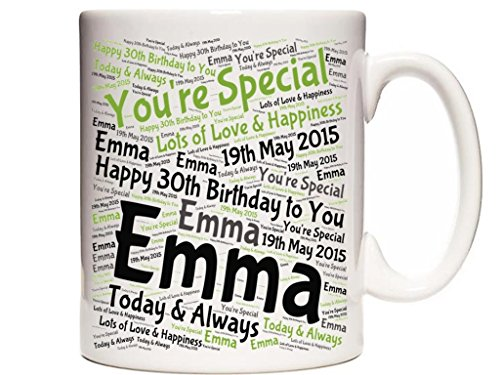 Personalised 30th Birthday Ceramic Mug/Cup. Complete with gift box. Personalised details required by email.