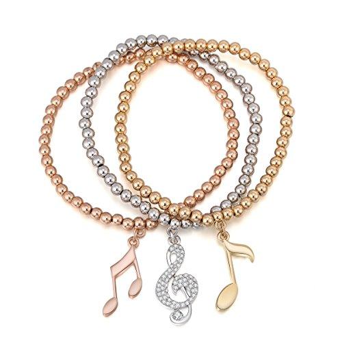 Frauen Bettelarmband, Stretch Armreif Musik Noten Anhänger Armband Manschette Armband für Mädchen mit Kristall (Mehrere Farben) (Musik Note Bettelarmband)
