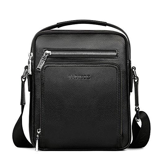 Padieoe Herren echt Leder Umhängetasche Business Handtasche casual Kuriertaschen Crossbody Schwarz