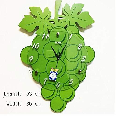 CAI Glocke-Wanduhr Metall Genaue Grüne Hölzerne Traube Modellierung Modische Dekoration Uhr/Einfache Pastoralen Stil Hängende Tabelle -1 X Aa Batterie (Nicht Enthalten)