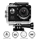 Sports Action Camera 4K, Action Cam WiFi, Ultra Full HD 16MP Wasserdicht 30 M, 2.4 G kabellose Fernbedienung,170 Grad Weitwinkel Objektiv Action Cam - Schwarz