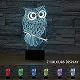 Coolzon 3D LED Illusion Lampe de Chevet Veilleuse Enfants Tactile 7 Couleurs...