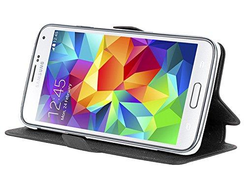 Cadorabo – Ultra Slim Book Hülle für > Samsung Galaxy S5 / S5 NEO < (GT-I5500) mit Kartenfach und Standfunktion – Etui Case Cover in ICY SCHWARZ (I5500 Gt)