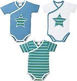 Baby Butt Wickelbody 3er-Pack mit Druckmotiv Interlock-Jersey blau/grün Größe 50/56