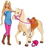 Barbie et son cheval, poupée blonde en tenue d'équitation avec genoux articulés, jouet pour enfant, FXH13