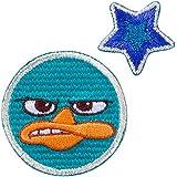 Minoda Phineas y Ferb cara pequena emblema del Hierro y el sello azul anfibio - pequena D01Y5958