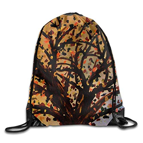 FTKLSS Lightweight Foldable Large Capacity Gym Drawstring Bags Tree Oil Painting Draw Rope Shopping Travel Backpack Tote Student Camping