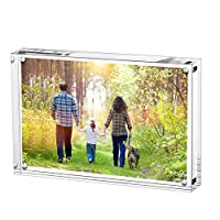 Boxalls Acrylic Photo Photograph Frames, Stand with Magnets, Holds 4 X 6 Inches Pictures,10mm+10mm Thickness Transparent