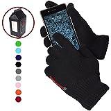 Guanti Touch Screen Tattili Invernali Outdoor Elastici - Unisex - Per Smartphone, Cellulari e Tablet - Confezione regalo inclusa! - NERO