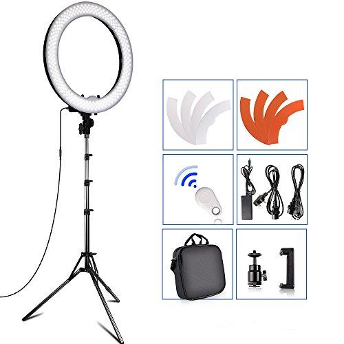 SAMTIAN 18 Zoll Äußere 55W 5500K 240 Dimmbare LED Ringlicht Kit mit verstellbaren 2M Light Stand, Hot Shoe für Kamera und Smartphone für YouTube Video, Porträtmalerei, Interview oder im Studio