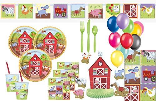 XXL 79 Teile Kindergeburtstag Bauernhof kleine Farm Party Deko Set 8 Personen