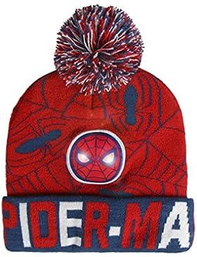 Marvel Spiderman 2200-2567 Cappello Invernale Pompon, Luce LED, Acrilico, Bambino, Multicolore