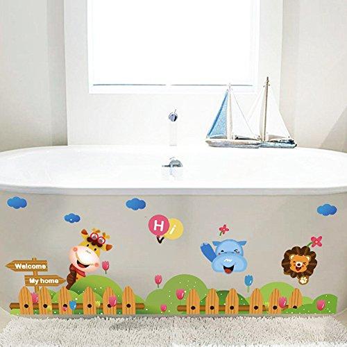 wallpark-mignon-animaux-girafe-lion-cloture-plinthe-amovible-stickers-muraux-autocollants-enfants-be