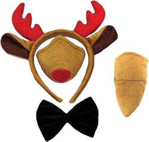 Kostüme Kind Rentier (Reindeer Set (Ears, Nose, Tail + Bow)