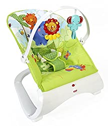 Fisher-price Cjn00 Rainforest New-born Baby Bouncer, Rocker & Chair With Activity Centre With Removable Toy Bar & Calming Vibrations
