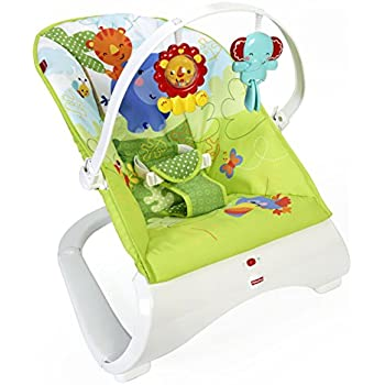 Fisher-Price CJN00 Rainforest New-Born Baby Bouncer, Rocker and Chair with Activity Centre with Removable Toy Bar and Calming Vibrations