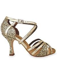 Zapato de baile de mujer Dernier para salsa, bachata, kizomba y bailes latinos en glitter oro y piel oro