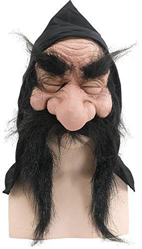 Goblin Halloween Kostüme (Halloween Old Herren Verkleidung Kostümparty Wichtel Zwerg Goblin Maske Mit Kaputze & Bart - Schwarz, One)